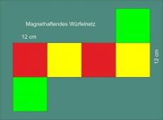 Dreifarbiges, magnetisches Würfelnetz